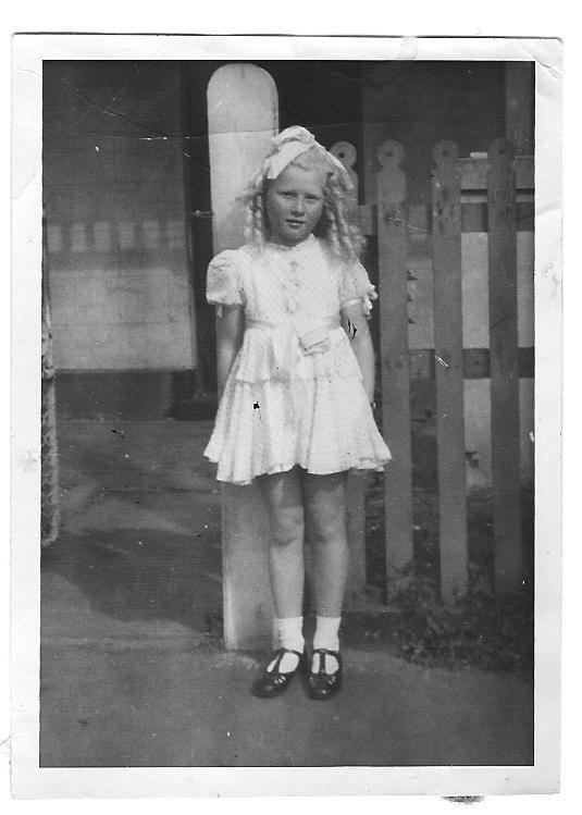 Shirley Freedman nee Meed (Miodownik) outside her home 493 Drummond Street Carlton circa 1943