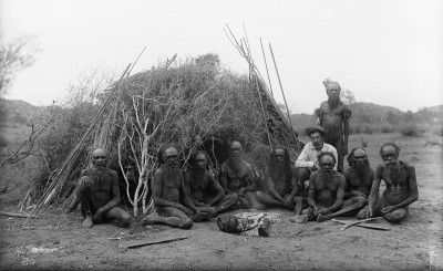 Baldwin Spencer seated with the Arrernte elders, Alice Springs, Central Australia, 1896.
