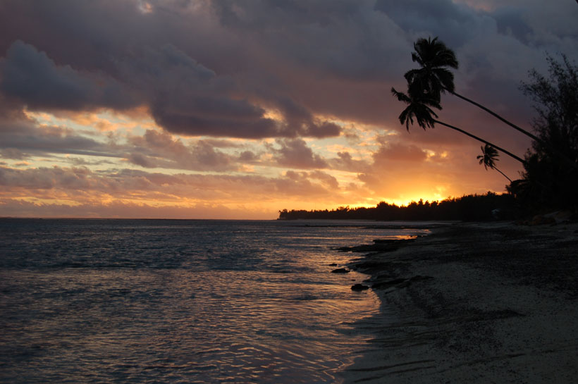 Sunset after school in the Cook Islands