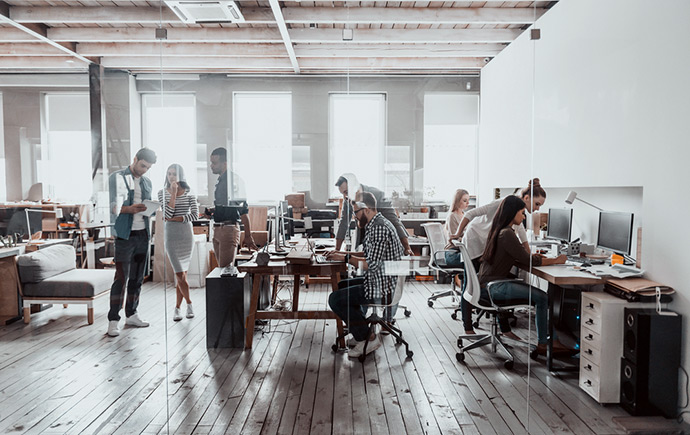 lots of people in office working