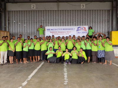 The staff of FPBSC at the start of Antibiotic Awareness Week, taken at FPBSC