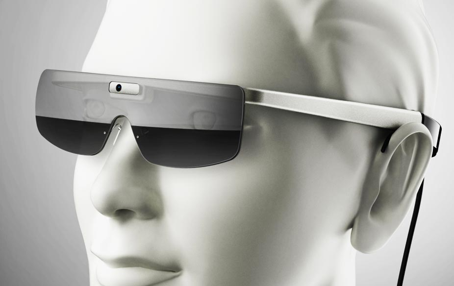 Bionic Vision glasses on model